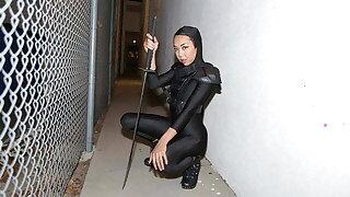 Petite Ninja Asian Teen Ties and Rides Guard