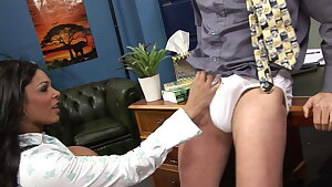 Chocolate babe loves taking this long prick from behind