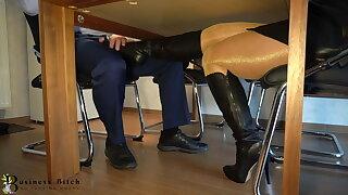 secretary's secret leather boot and footjob - business-bitch