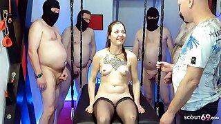 GERMAN Muff Mass ejaculation GANGBANG WITH SKINNY TEEN XENIA Superslut