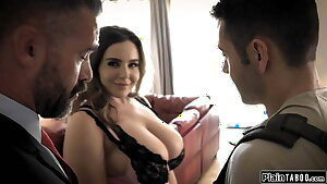 Husband sees his student get deep throated by his big globes wife