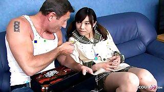 Tiny Japanese Teen Ibuki Seduced to Fuck by Hefty Dick old Guy