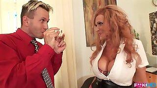 Busty redhead Sharon Pink is a dream secretary that luvs titty fucking