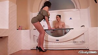 Busty Lesbians Patty Michova & Valentina Ricci Masturbate With Glass Dildo