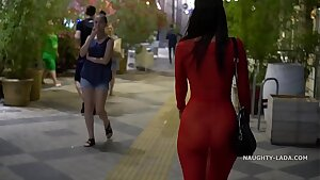 Red transparent sundress in public