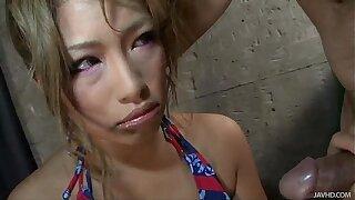 Blond Japanese Slut Rumika Skull Fucked by a Horny Guy