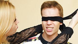 Mom teaches blindfolded stepson rectal fetish
