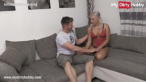 MyDirtyHobby - Splendid busty blonde does her very first casting