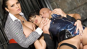 Big titted Valerie Summer and Jasmine Black have a three-way
