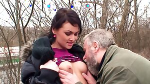 Ugly Grandpa Outdoor Sex with Cute Schoolgirl for Cash