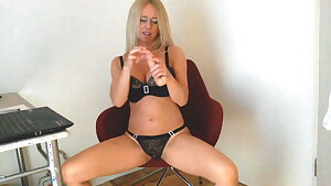Hot German MILF with Silicon Tits fucks HUGE DILDO! COUGAR!