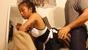 Exxxtra Small Japanese Maid Cleans A Big Penis - Hand job