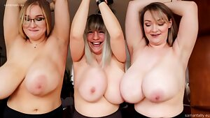 Three Plumper Queens - moms with meaty naturals love boob have fun
