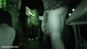 She wore only a tinsel at the club! Public flashing