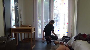 French domme sodomizes an exhibitionist pervert