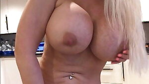 Sophie James, Blonde Busty Cougar Strokes Home Alone