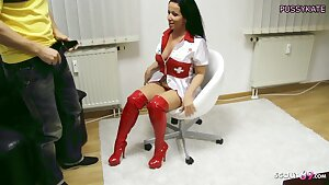 German Cougar Nurse Katie Gives Young Virgin Boy His First Dt
