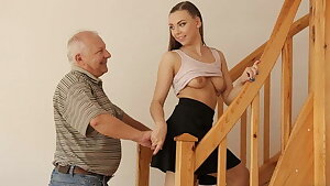 DADDY4K. Teen coquette gets banged by elderly male