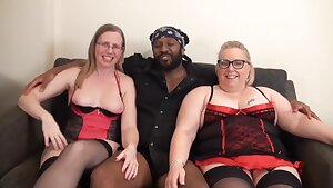 Sexy first-timer PAWG chicks share Big black cock in homemade interracial threesome