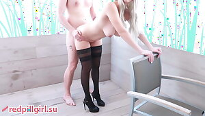 gorgeous big-boobed blond fucked on the balcony