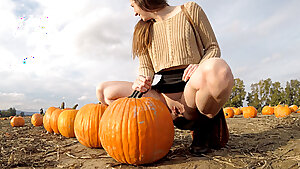 PREVIEW - Public upskirt showing at the pumpkin patch