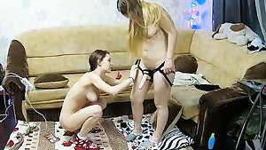 Russian Lesbian Amateur Chicks have Strap-On Fun