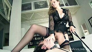 Collared Masculine Slave Eats Milf Mistress Julia Ann's Pussy!